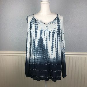 Karen Kane Blue Tie Dye Embroidered Peasant Top